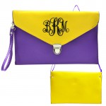 32751 - PURPLE & YELLOW LEATHER CLUTCH BAG