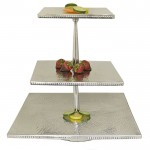 3590 - HAMMERED 3 TIER SQUARE FRUIT OR CUP CAKE STAND