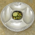52391 - BEADED ROUND 5 SECTION CHIP N DIP /W GLASS