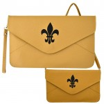 32747 - BEIGE LEATHER CLUTCH BAG W/FDL