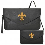 32747 - BLACK LEATHER CLUTCH BAG W/FDL