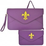 32747 - PURPLE LEATHER CLUTCH BAG W/FDL