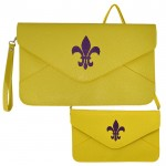 32747 - YELLOW LEATHER CLUTCH BAG W/PURPLE FDL