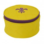 32763 - YELLOW COSMETIC OR JEWELERY BAG /W PURPLE FDL