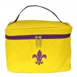 32767 - YELLOW QUILTED COSMETIC BAG /W PURPLE FDL