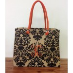 10-ORANGE - DAMASK DESIGN JUTE BAG W/ORANGE HANDLE