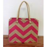 11- HOT PINK & TAN CHEVRON JUTE BAG