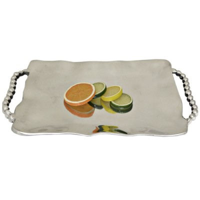 52511-PLAIN RECT. TRAY W/BEADED HANDLE