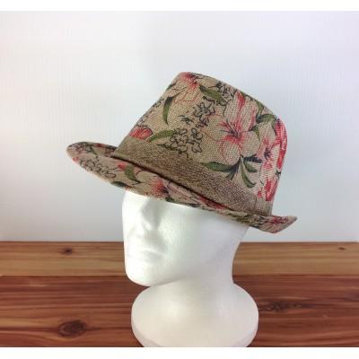 1800 - RED-N-BEIGE BLOCKED STRAW HAT
