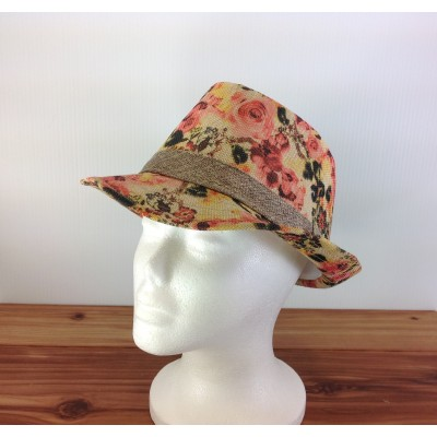 1800 - YELLOW-N-CORAL BLOCKED STRAW HAT