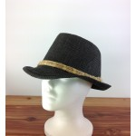 1801 - BLACK STRAW BLOCKED HAT W/ TAN-N-TAN ROPE BAND