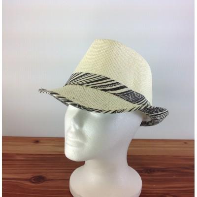 1802 - BLACK-N-CREAM PLAID BLOCKED STRAW HAT