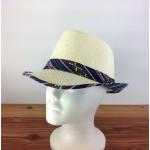 1802 - NAVY&RED-N-CREAM PLAID BLOCKED STRAW HAT