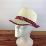 1802 - RED MULTI-N-CREAM PLAID BLOCKED STRAW HAT