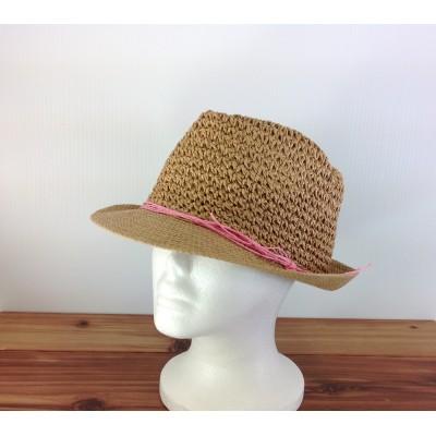1803 - TAN-N-PINK STRAW HAT