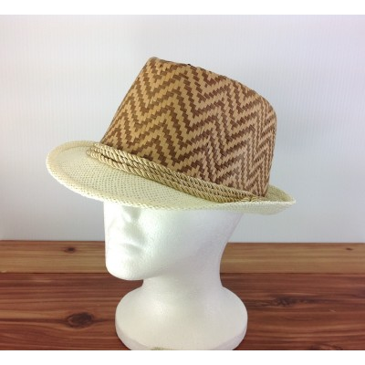 1804 - TAN/CREAM CHEVRON DESIGN STRAW HAT