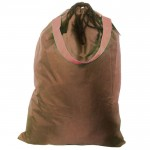 181245-BROWN PLAIN LAUNDRY OR UTILITY BAG W/ORANGE HANDLE