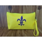 32504-FDL- YELLOW COIN POUCH OR COSMETIC/MAKEUP BAG W/PURPLE FDL
