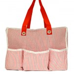 32688-RED SEER SUCKER DIAPER BAG / W 5 POCKETS