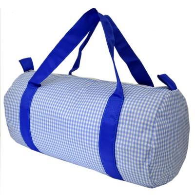 32689-BLUE/WHITE GINGHAM DUFFLE BAG