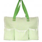 32691-GREEN SEER SUCKER DIAPER BAG / W 5 POCKETS