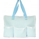 32693-LT. BLUE SEER SUCKER DIAPER BAG / W 5 POCKETS