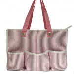 32694-PINK SEER SUCKER DIAPER BAG / W 5 POCKETS