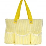 32695-YELLOW SEER SUCKER DIAPER BAG / W 5 POCKETS