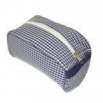 32706 - NAVY/WHITE GINGHAM COSMETIC BAG