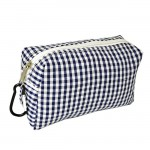 32715 - NAVY/WHITE GINGHAM COIN  POUCH OR COSMETIC/MAKEUP BAG