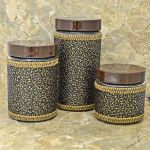 32745-BK- 3 PCS JAR SET W/BROWN LIDS