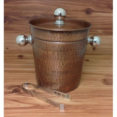 4006-HAMMERED COPPER ICE BUCKET W/TONG