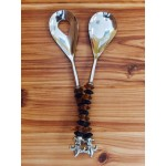 52287-FLEUR DE LIS SERVING SET W/ BLACK & BROWN GLASS BEADS