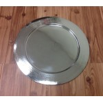 52540 - X- LARGE STAINLESS STEEL ROUND TRAY W/HAMMERED BORDERS