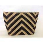 7- BLACK & TAN CHEVRON JUTE POUCH BAG