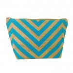 7 - BLUE & TAN CHEVRON JUTE POUCH BAG