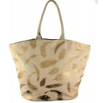 9203- BROWN FEATHER CANVAS TOTE BAG