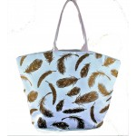 9203- WHITE FEATHER CANVAS TOTE BAG