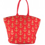 9204- RED MULTI ANCHOR DESIGN CANVAS TOTE BAG