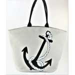 9209- NAVY ANCHOR CANVAS TOTE BAG