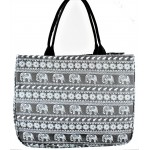 9219- GREY ELEPHANT CANVAS TOTE BAG