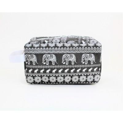 9244- GREY ELEPHANT DESIGN COSMETIC BAG