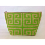 8 - LIME GREEN & TAN GREEK KEY JUTE POUCH BAG
