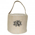 6002 - BEIGE SEER SUCKER ROUND BASKET