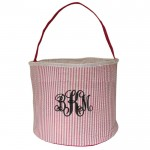 6002 - HOTPINK SEER SUCKER ROUND BASKET