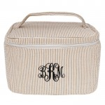 6004 - BROWN SEER SUCKER COSMETIC BAG