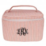 6004 - RED SEER SUCKER COSMETIC BAG