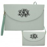 6006 - AQUA SEER SUCKER CLUTCH/CROSS BODY/SHOULDER BAG