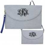 6006 - BLUE SEER SUCKER CLUTCH/CROSS BODY/SHOULDER BAG
