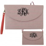 6006 - CORAL SEER SUCKER CLUTCH/CROSS BODY/SHOULDER BAG